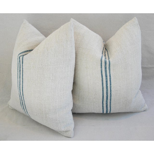 Blue Stripe French Grain Sack Pillows - Pair - Image 9 of 11