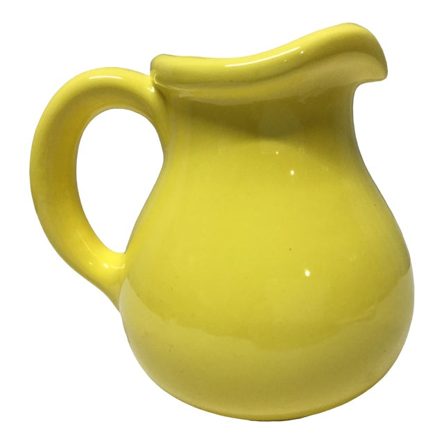 Classic 1950s Yellow Pottery Pitcher For Sale