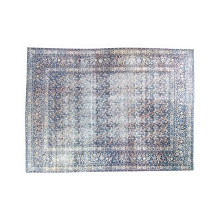 """House of Séance - 1940s Vintage Tabriz Paisley Distressed Oushak Pile Wool Hand-Knotted Rug - 8'9"""" X 11'7"""" For Sale"""