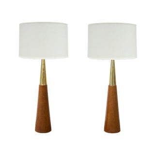 Pair of Conical Table Lamps by Tony Paul in Walnut and Swedish Brass For Sale