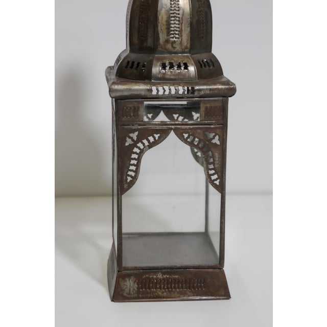 Moroccan Moorish Square Metal and Clear Glass Candle Lantern For Sale - Image 12 of 13