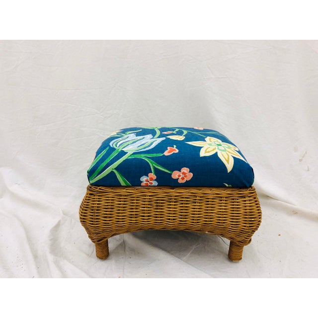 Boho Chic Vintage Woven Wicker Foot Stool For Sale - Image 3 of 7