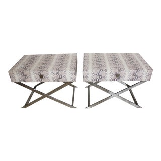 Vintage X-Tables Single Drawer Faux Python and Chrome - a Pair For Sale