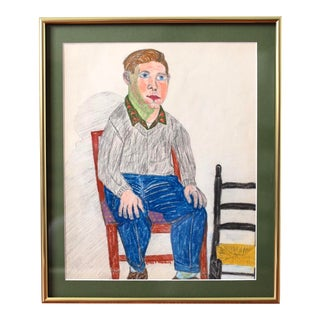 Vintage Folk Art Portrait Drawing of a Man, Signed by Artist Emile T. Merchant and Dated 1960 For Sale