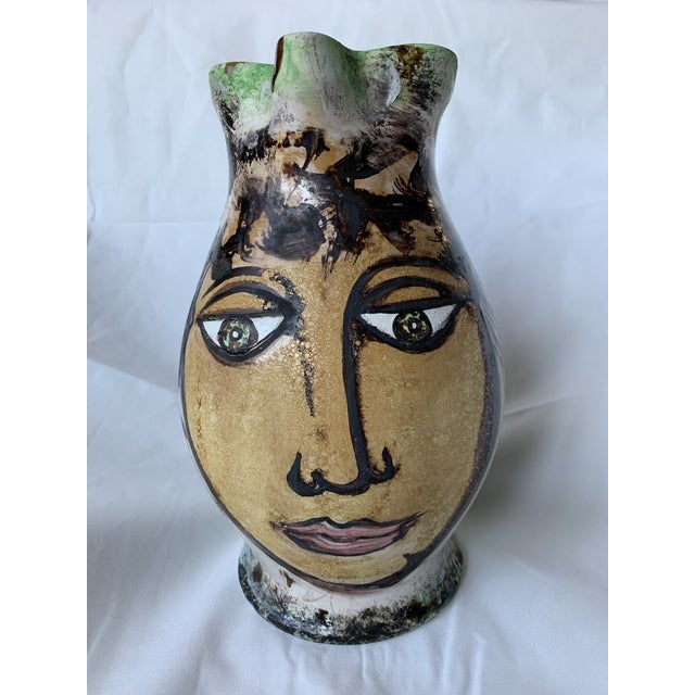 Vintage Italian Pottery Hand Painted Face Pitcher Vase For Sale - Image 13 of 13