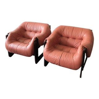 Mid Century Percival Lafer Brazilian Modern Leather Sling Lounge Chairs- A Pair For Sale
