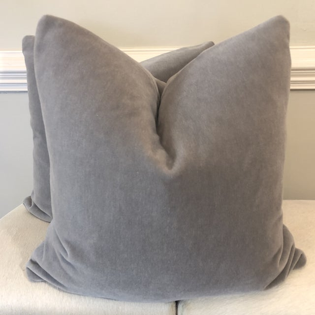 "Gray Mohair 22"" Pillows-A Pair For Sale In Greensboro - Image 6 of 6"