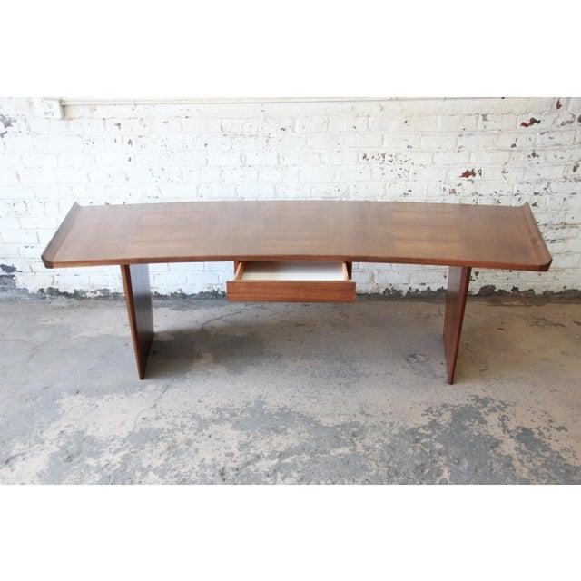 Harvey Probber Excellent Curved Top Walnut Harvey Probber Executive Desk For Sale - Image 4 of 14