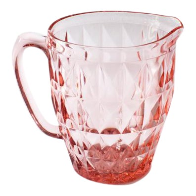 Blush Pink Depression Glass Faceted Pitcher - Image 1 of 4