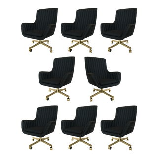 Set of Eight Ward Bennett for Brickel Associates Swivel Chairs For Sale
