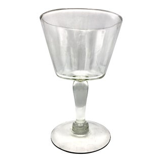 Tall Blown Crystal Trifle Bowl on Pedestal