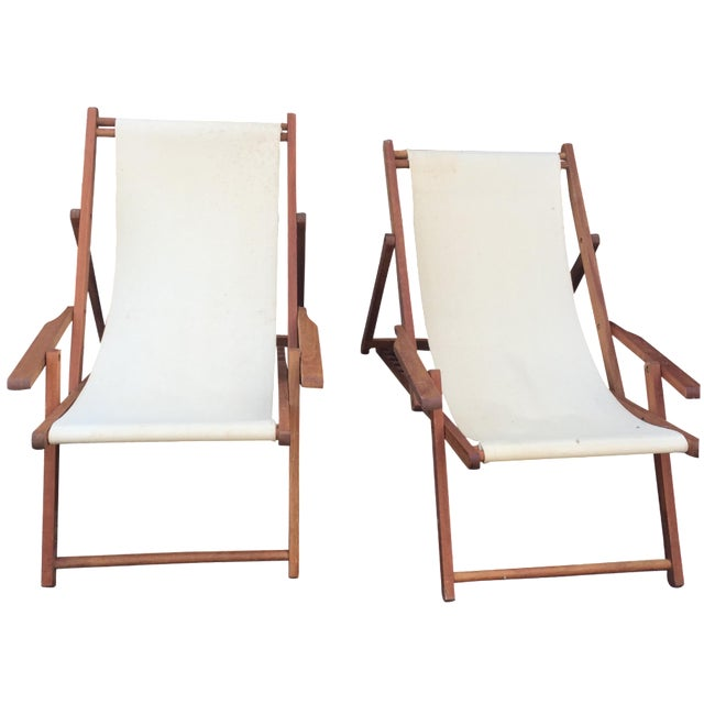Wood Slingback Canvas Chairs - A Pair For Sale