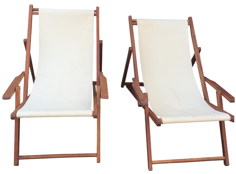 Merveilleux Wood Slingback Canvas Chairs   A Pair