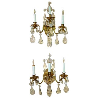French Rock Crystal Brass Wall Sconces - a Pair