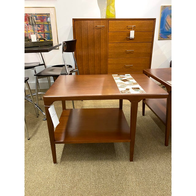 1970s Vintage Pair of Mid Century Modern Wood Side End Tables W/ Ceramic Tile Inlay For Sale - Image 5 of 7