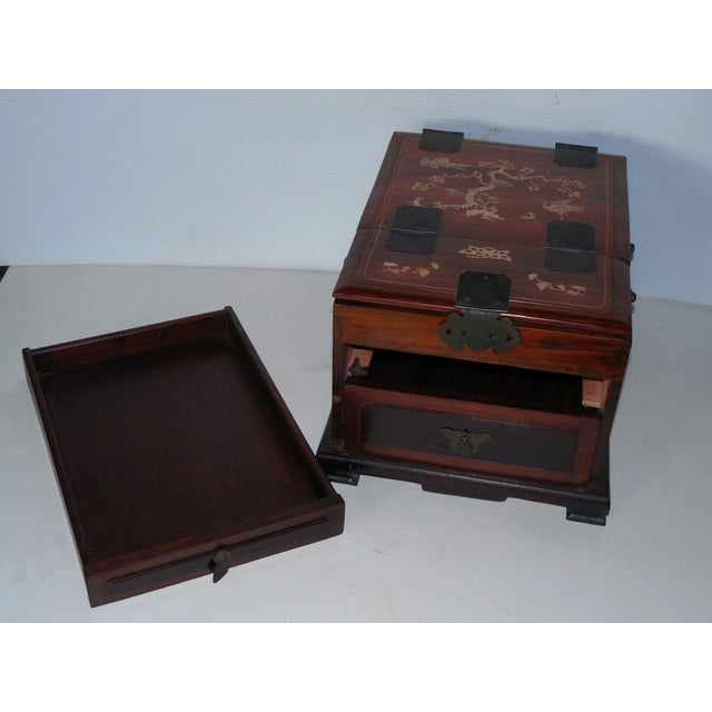 Chinese Rosewood Dressing Box With Bone Inlay - Image 7 of 10