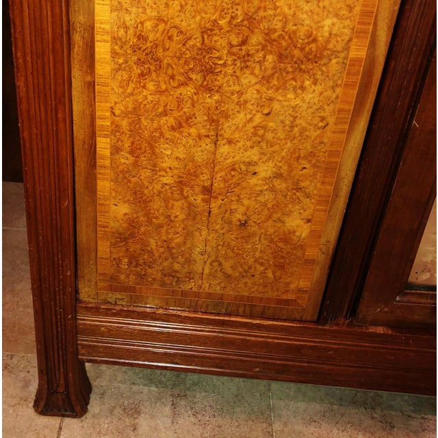 Antique ART NOUVEAU 19th/20th C FRENCH Walnut Satin Inlay BRONZE Mounted MIRROR ARMOIRE For Sale - Image 9 of 10