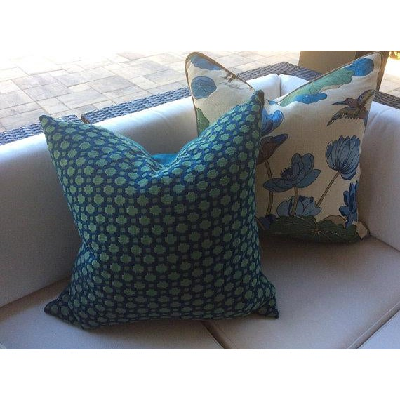 "Contemporary G. P. And J Baker ""Nympheus"" Aqua Pillows - a Pair For Sale - Image 3 of 5"