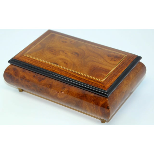 Metal Footed Wooden Jewelry Music Box Made in Italy For Sale - Image 7 of 13