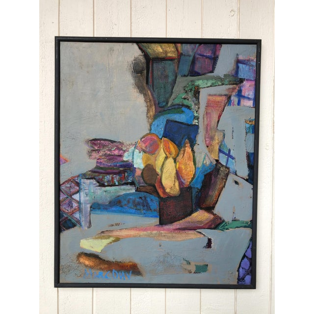 Great colors on this 60's or 70's abstract expressionist framed stretched canvas oil painting. Signed Eric (on back)...