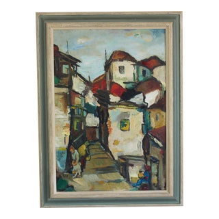 Mid 20th Century Cityscape Painting on Board, Framed For Sale