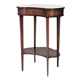 English Sheraton Satinwood Kidney End Table For Sale