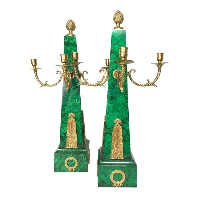 Maitland Smith Faux Malachite and Brass Finish Obelisk Candelabras - a Pair For Sale