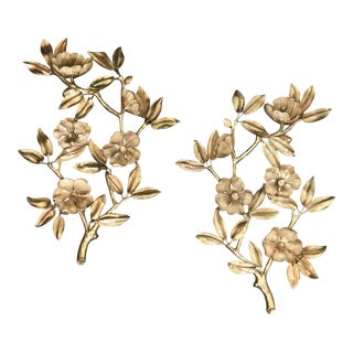 Vintage Syroco Mid Century Floral Wall Hangings - a Pair For Sale
