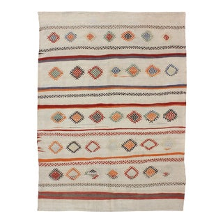 Colorful Vintage Flat Weave in Stripe & Geometric Embroidery Design For Sale