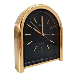 Vintage Seiko Quartz Gold & Black Small Table Mantle Clock For Sale