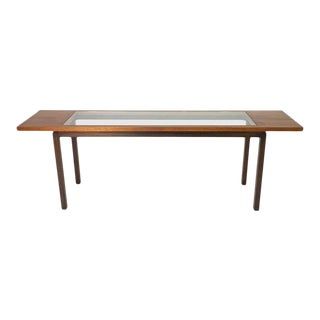 Signed Harvey Probber Console or Sofa Table in Walnut & Mahogany With Glass Top For Sale