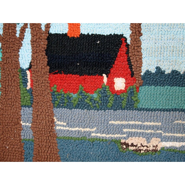 1960s Vintage American Hooked Rug- 1′6″ × 3′ For Sale - Image 4 of 10