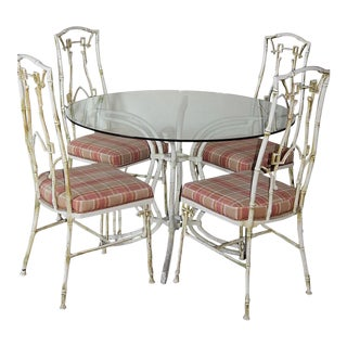 Chinoiserie Metal Faux Bamboo Patio Dining Table Chairs Set