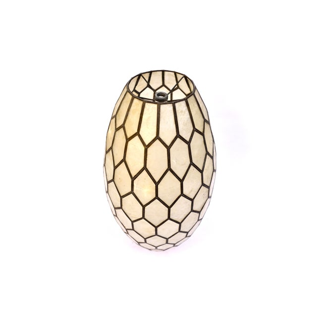 Large Vintage Bohemian Glam Capiz Shell Lampshade   Mid-Century Bullet Shape Lamp Shade   Chic Statement Lighting For Sale In Los Angeles - Image 6 of 13