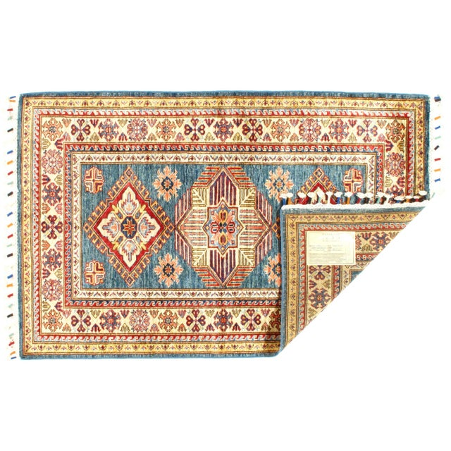 """Anglo-Indian Pasargad N Y Super Kazak Lamb's Wool Rug - 3'2"""" X 5' For Sale - Image 3 of 5"""