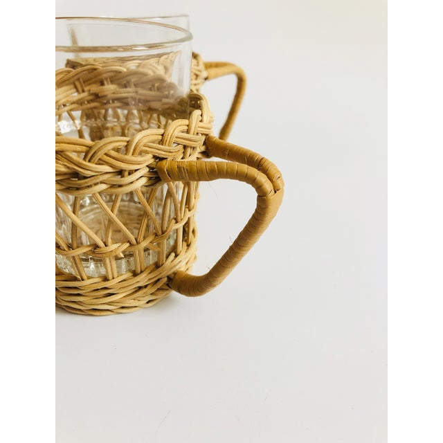 Vintage Glasses in Wicker Holders - Set of 4 For Sale In San Francisco - Image 6 of 7