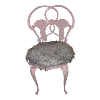 French Pink Iron Bow Accent Chair