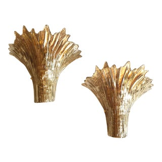1970s Mid-Century Modern Leaf Gold Murano Glass Sconces Attr. To Barovier - a Pair For Sale