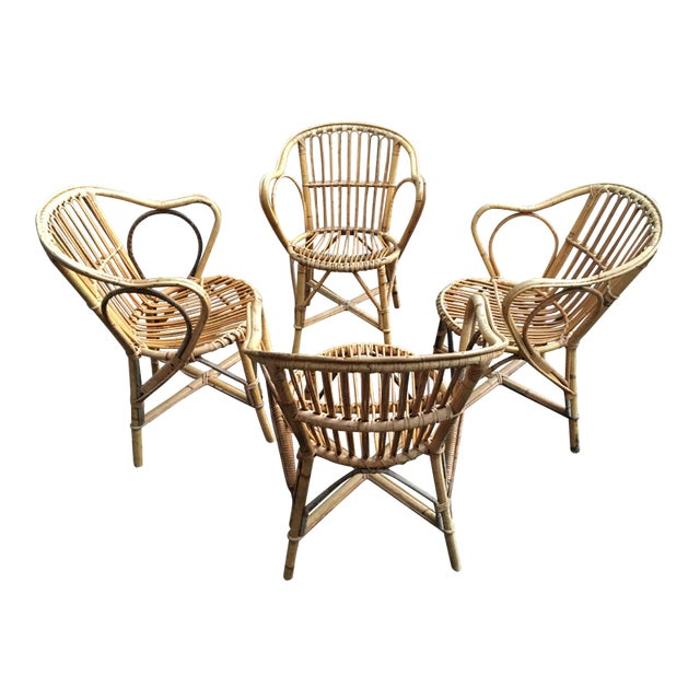 Bamboo Dining Chairs - Set of 4 - Image 1 of 9