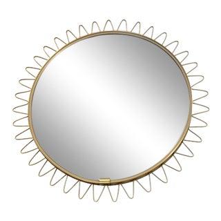 Mid Century Brass Framed Sunburst Mirror