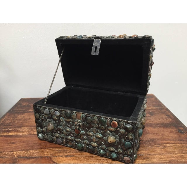 Large Moroccan Wedding Silvered Jewelry Box Inlaid With Semi-Precious Stones For Sale - Image 12 of 13
