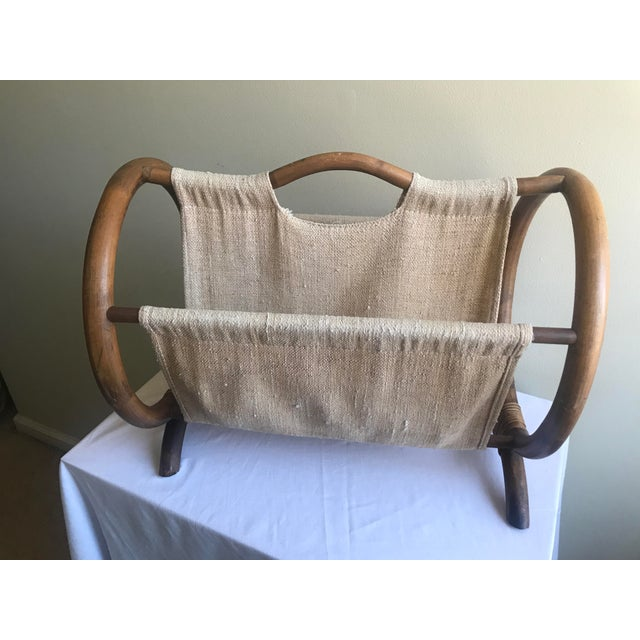 This bamboo and burlap magazine holder is a perfect addition to your Mid Century decor. Created in the bentwood style with...