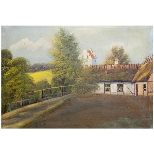 Oil on canvas, circa 1900, of a Swedish cottage and fields with a medieval church in background. The traditional cottage...