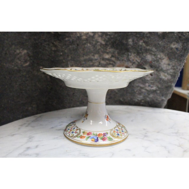 Dresden Floral Punched Tazza DIsh For Sale In New York - Image 6 of 7