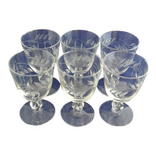 Antique Etched Crystal Wine Glasses - Set of 6 For Sale