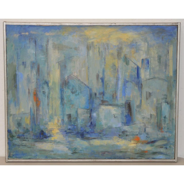 Canvas Mid Century Modern Abstract Cityscape by Mary Carey c.1950s For Sale - Image 7 of 7