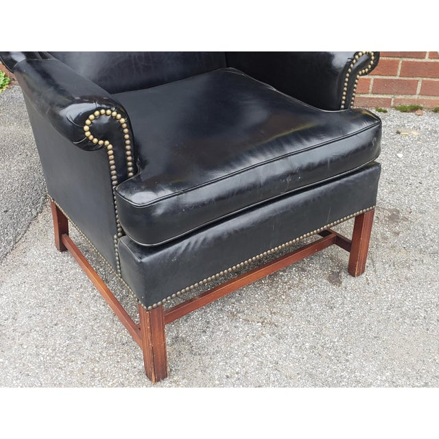 Black Vintage Hickory Chair Co. Black Vinyl Upholstered English Style Wingback Library Armchair C1960s For Sale - Image 8 of 9