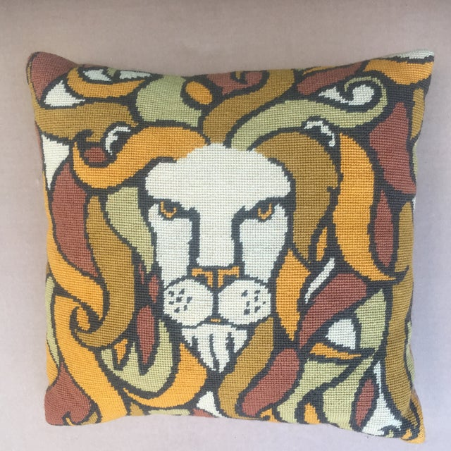 Vintage Hand Made Needlepoint Pop Lion For Sale - Image 4 of 4