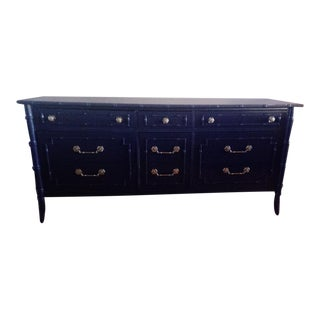 Thomasville Allegro Faux Bamboo 9 Drawer Navy Blue Painted Dresser