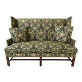 Image of Hickory Chair Co High Back Upholstered Chippendale Loveseat For Sale